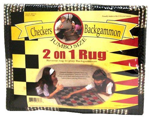 2-On-1 Rug Game - Checkers And Backgammon - Extra Checkers