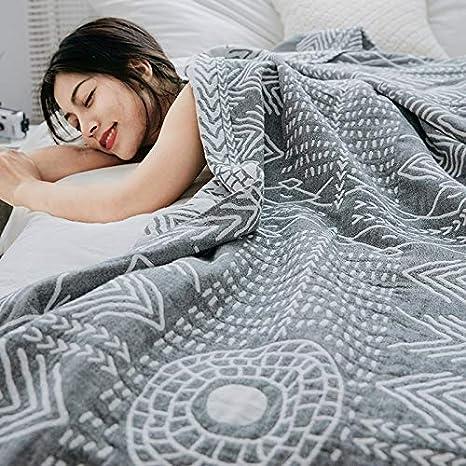 Color : A, Size : 150 * 200CM LHR La gaze est en coton simple double /ét/é climatisation /ét/é cool couette mince section sieste couverture canap/é d/ét/é couverture