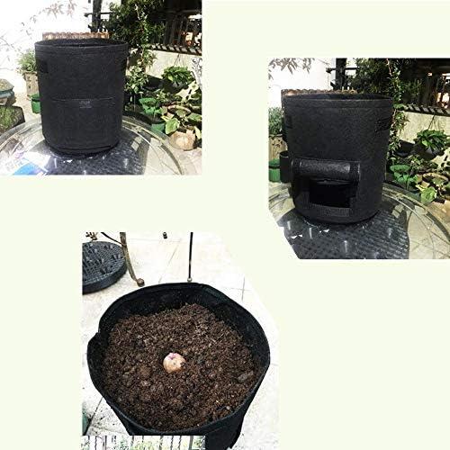 Soft-Sided atmungsaktiv Anbau Pflanzbeutel mit Tragegriffen schwarz, gr/ün, braun 3-Pack Stoff Blument/öpfe f/ür Erdbeer-Tomaten-Zwiebel usw Ytesky 7 Gallonen Kartoffel wachsen Taschen 3 Farben