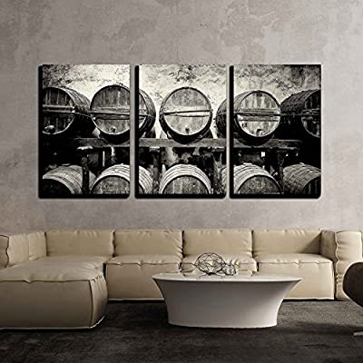 Barrels Stacked in The Winery in Black and...
