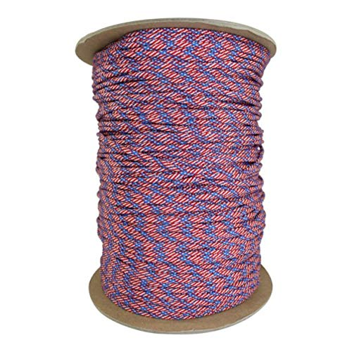 SGT KNOTS Paracord 550 Type III 7 Strand - 100% Nylon Core and Shell 550 lb Tensile Strength Utility Parachute Cord for Crafting, Tie-Downs, Camping, Handle Wraps (Stars and Stripes - 50 ft)