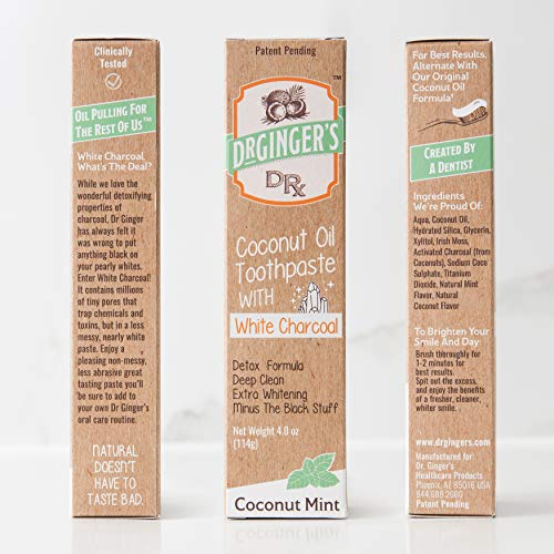 Dr. Ginger's Toothpaste with Charcoal | | Fluoride Free | Healthy Coconut Mint