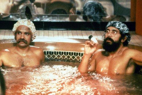 Tommy Chong and Cheech Marin in cheech & Chong smoking joint in hot tub 24x36 Poster Silverscreen