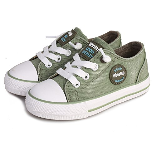 (Weestep Toddler/Little Kid Boys and Girls Slip On Canvas Sneakers (9 M US Toddler, Green))
