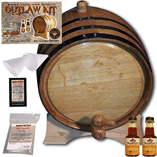 - Barrel Aged Whiskey Making Kit - Create Your Own Honey Bourbon Whiskey - The Outlaw Kit from Skeeter's Reserve Outlaw Gear - MADE BY American Oak Barrel (Natural Oak, Black Hoops, 2 Liter)