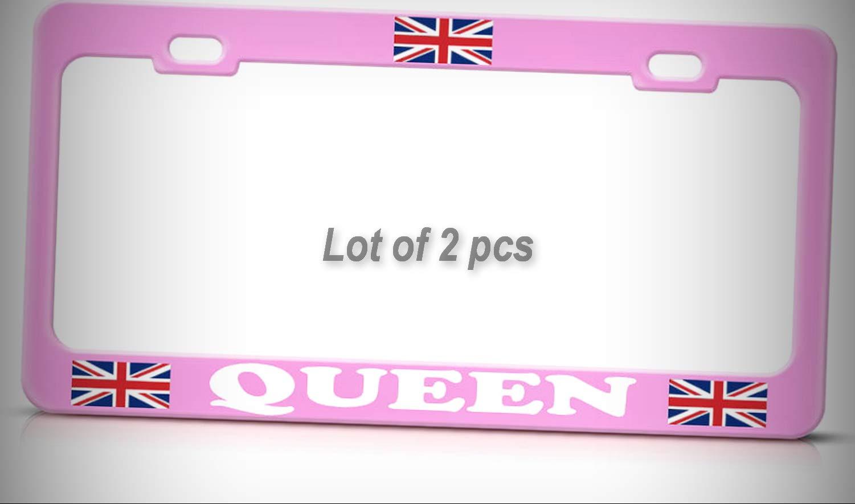 Set of 2 Pcs - Union Jack British Queen of England Pink Metal Tag Holder License Plate Frame Decorative Border