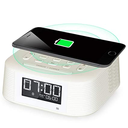 Homtime Wireless Charging Bluetooth Alarm Clock Radio, 2 Alarms, Bluetooth Speaker, Fast Charger, Sleep Timer, Snooze, Digital LCD with Dimmer and USB ...