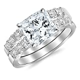 1.56 Carat Princess Cut Classic Prong Set Bridal Set With Wedding Band and Diamond Engagement Ring (H Color, VS1 Clarity Center Stones)
