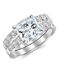 1.56 Carat Princess Cut Classic Prong Set Bridal Set With Wedding Band and Diamond Engagement Ring (H Color, VS1 Clarity)