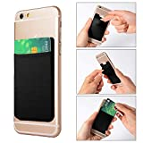 GreatforU Universal Smartphone Back Card Holder, Stick-on Cell Phone Case Ultra-slim 3M Adhesive Credit Card Pocket Money Wallet Sticker for iPhone XS XR X 8 7, iPhone 6S Plus, Samsung S8 HTC - BLACK