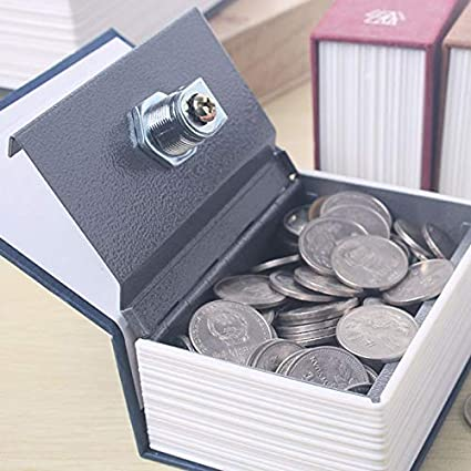 Diccionario Inglés Forma de dinero en efectivo por caja de ahorro del libro seguro del banco de moneda guarra con la cerradura de la llave secreto escondido de Seguridad para Niños y