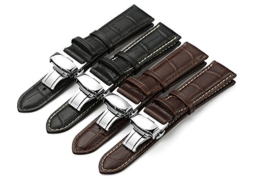 iStrap Calf Leather Padded Replacement Watch Band W/ Push Button Deployment Buckle Color & Width (18mm,19mm, 20mm,21mm,22mm or 24mm)