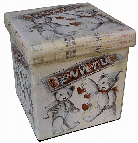 Pouf contenitore richiudibile in ecopelle 32x32x32 cm Biscottini