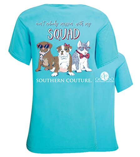 Southern Couture SC Ain't Nobody Messin' With My Squad, Puppies Womens Classic Fit T-Shirt - Lagoon Blue, Small (Show Southern Christmas Reviews)