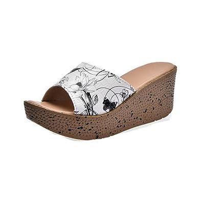 Amazoncom Womens Fashion Floral Wedges Platform Sandals Slide