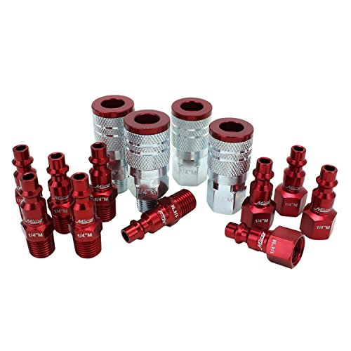 "ColorFit by Milton Coupler & Plug Kit - (M-Style, Red) - 1/4"" NPT, (14-Piece)"