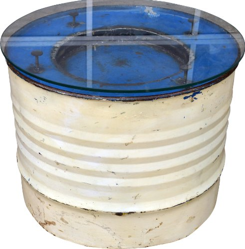 Guru-Shop Barril Diesel Tabla Lateral del Metal Reciclado con Placa de Vidrio, 45x57x57 cm, Las Mesas de Centro Tablas de B