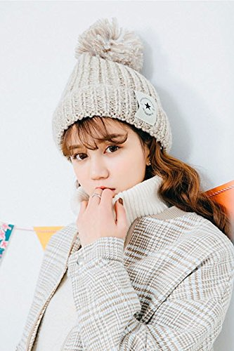 Generic New winter wool cap thick winter mohair plush fleece liner flange ball-pointed star knitted hat cap ()