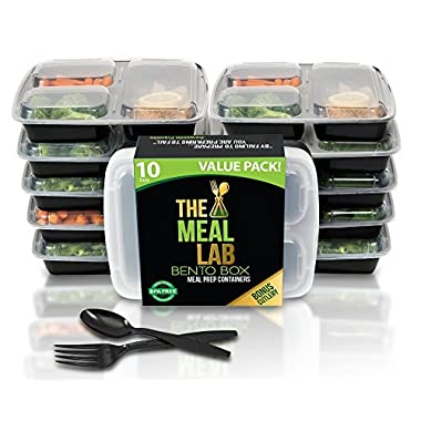 [Premium-Pack] Long Lasting 3-Compartment BPA FREE Stackable Meal Prep Food Storage Containers with Lids | Microwave & Dishwasher Safe Bento Lunch Box | Portion Control Plates + FREE Cutlery