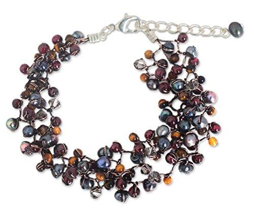 NOVICA Multi-Gem Garnet Dyed Cultured Freshwater Pearl Silver Plated Beaded Bracelet, 7