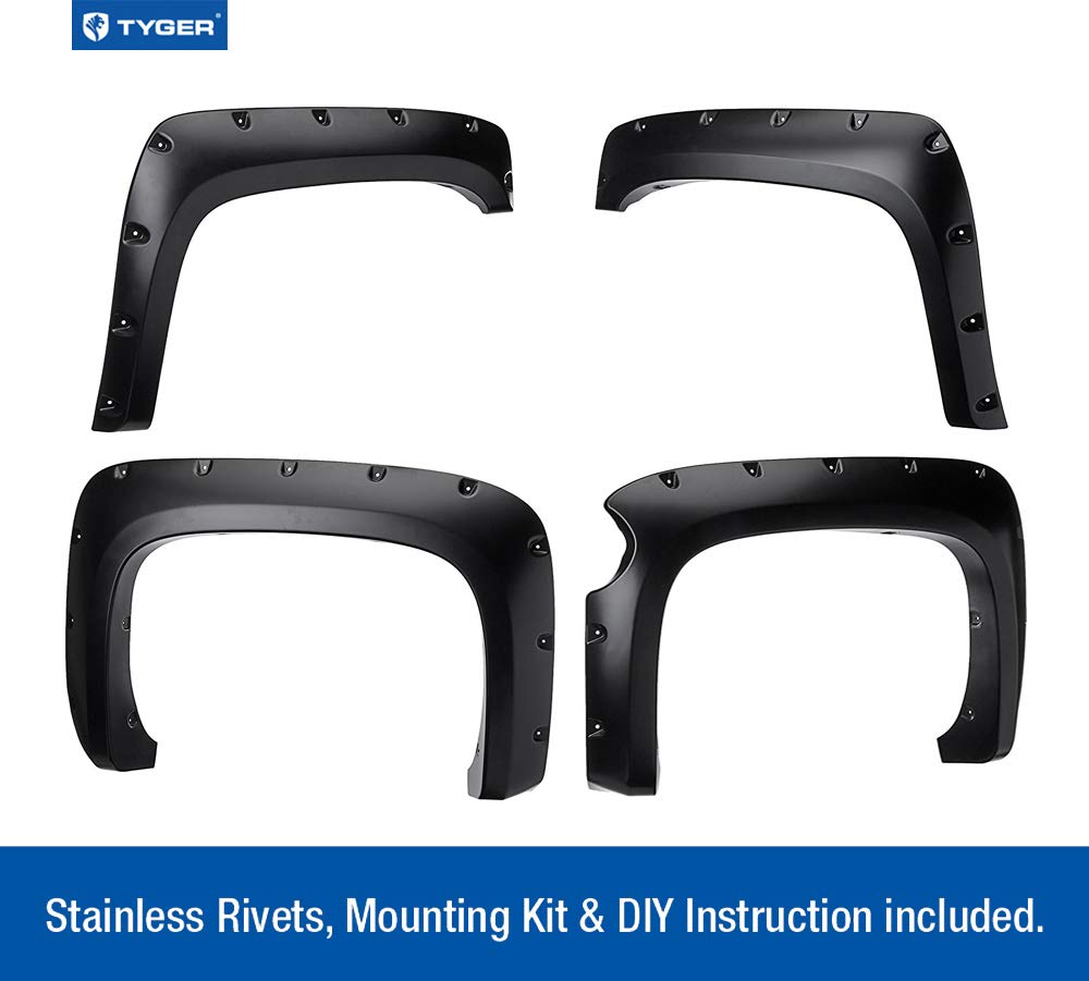 4 Piece Excludes 07 Classic Models | Paintable Smooth Matte Black Pocket Bolt-Riveted Style Fender Flare Set ONLY Fit 69.3 Short Bed Tyger Auto TG-FF8C4108 for 2007-2013 Chevy Silverado 1500