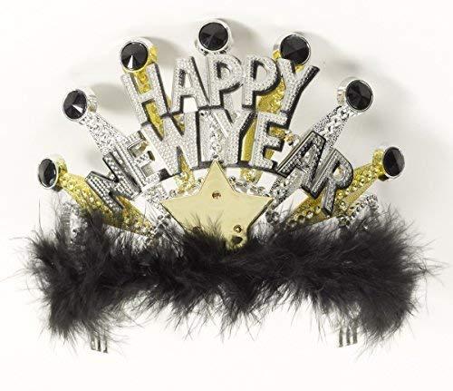 Forum Novelties Happy New Years Light up Black and Gold Tiara -
