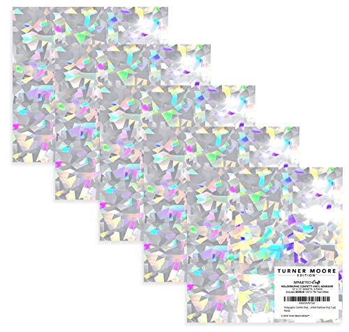 Holographic Confetti Vinyl, 12x12 Adhesive Vinyl Sheets for Maker, Explore, Silhouette, Stickers + Bonus 12x12 Teal Glitter EXCLUSIVE by StyleTech x Turner Moore Edition (Confetti Rainbow Vinyl, 5-pk)