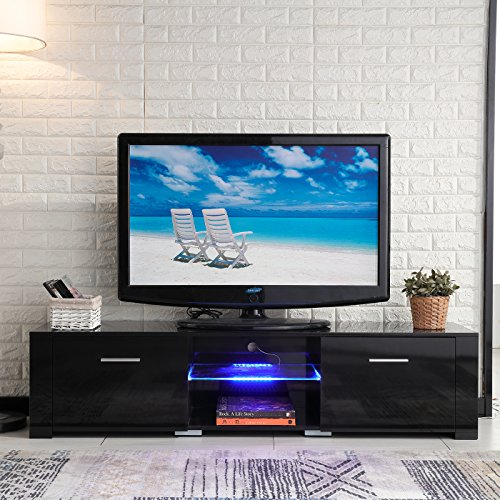 High Gloss Black Tv (NewRetailGlobal High Gloss TV Stand Console Black Unit Cabinet with LED Light Shelves 2 Drawers Console)