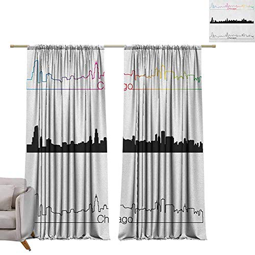 berrly Room Darkening Wide Curtains Chicago Skyline,Metropolis City Panorama in Linear Rainbow Black Tones Architecture Modern, Multicolor W96 x L84 Thermal Insulating Blackout Curtain