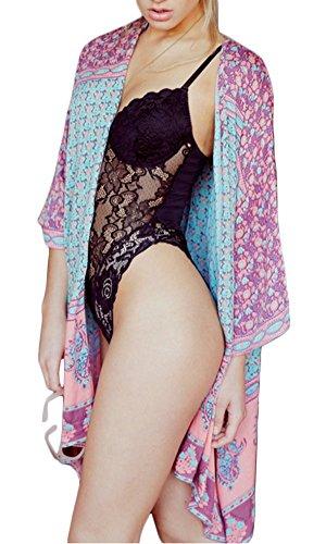KE1AIP Bikini de playa de quimono de la gasa de las mujeres del verano cubre para arriba el traje de baño floral de la rebeca Beachwear Multicolor
