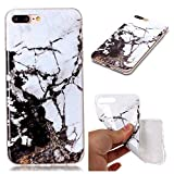 Misteem Back Cover for Apple iPhone 7 Plus/ 8 Plus Shell Colorful [Black White Marble] Pattern Retro Stylish Case Flexible Silicone Soft Rubber Shockproof Cute Print Cover Protective