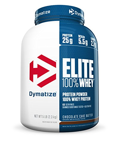 Dymatize Elite 100% Whey Protein, Chocolate Cake Batter, 5 lbs