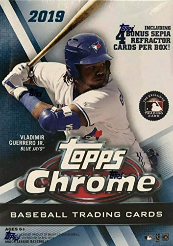 2019 Topps Chrome Baseball Series Unopened Blaster Box of Packs with 4 Blaster Exclusive Sepia Refractor Cards and a Chance for Autographed Rookie Cards of Pete Alonso and Vladimir Guerrero Plus from Unopened Box of Packs