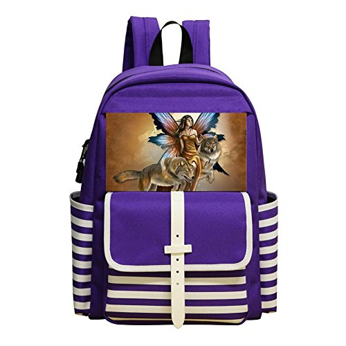 Mini School Bags For Kindergarten Boy Girl,Print Wolf,Purple ()