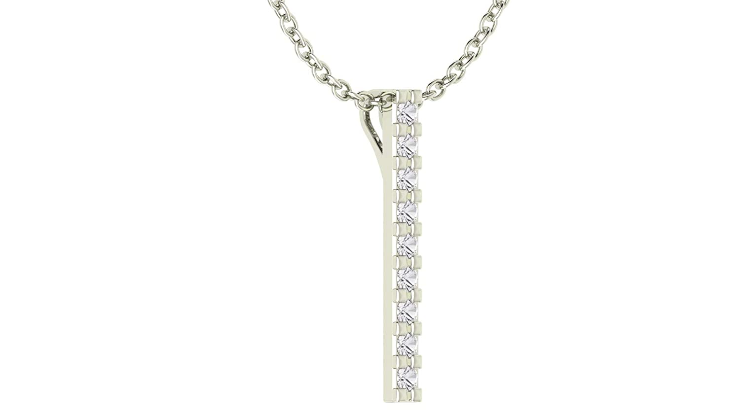 Solid Sterling Silver 3mm Perfectly Linear Natural White Topaz with 17.5 inch Anchor Chain for Women