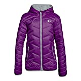 Under Armour Girls' ColdGear Reactor Hooded Jacket, Purple Rave/Overcast Gray, Youth Medium