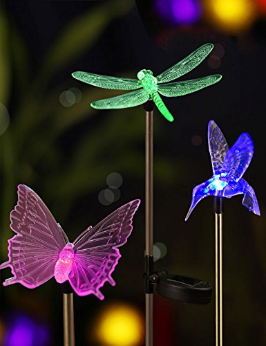 Bright Zeal [Set of 3] LED Color Changing Solar Stake Lights Outdoor - Garden Figurines (Hummingbird, Butterfly, Dragonfly) - LED Garden Lights Garden Decor - Yard Lights Solar Landscape Dragonfly's - Hummingbird Stake Light