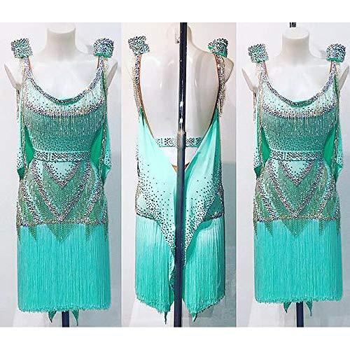 Shing Collection - Ballroom Beading Salsa Latin Rhythm Samba Dance Dress Nets Lining Feather Beading Crystal - Custom Made White
