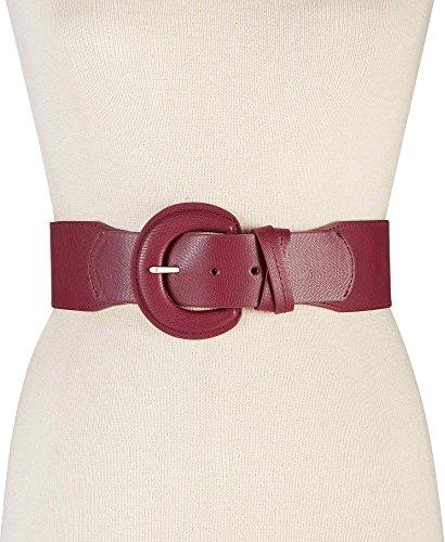 (Style & Co Women's Double Keeper Lizard-Embossed Stretch Belt, Dark Red (L/XL))