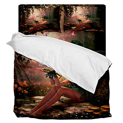 Fantasy Star Comforter Bedding Set Fairy Girl with Wings in The Wonderland Forest Home Decoration 4 Piece Duvet Cover Set Include 1 Flat Sheet 1 Duvet Cover and 2 Pillow -