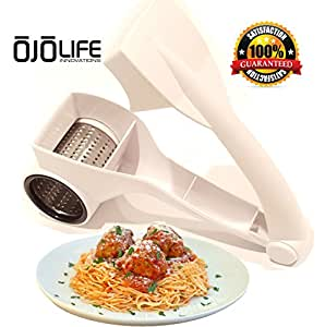Professional Duty Rotary Cheese Grater Shredder - Multi Use - Razor Sharp Stainless Steel Blades - With Complementary E-Cookbook - Restaurant Quality - Premium Grade - by OjoLife Innovations