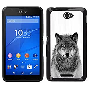 Loup sauvage Hurlement Noir Blanc - Metal de aluminio y de plástico duro Caja del teléfono - Negro - Sony Xperia E4