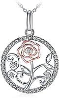 """Collier, GUNDULA Collier femme/fille Argent 925 Pendentif idéal, Chaîne 45+5cm Cadeau parfait avec paquet exquis""""Fleur éternelle"""""""