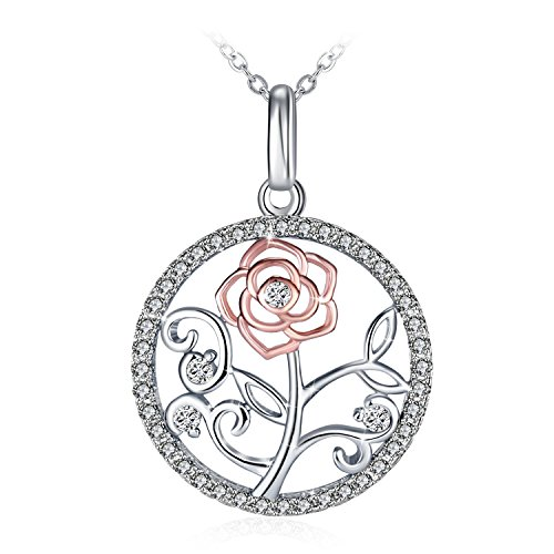 Necklace, GUNDULA Pendant Necklace with 925 Sterling Silver and 3A Cubic Ziconia, 18