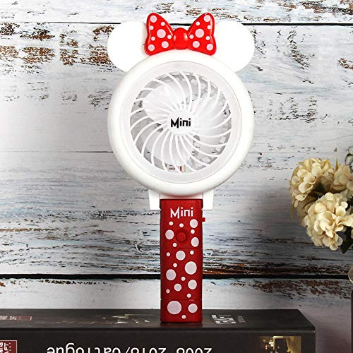 (Creative Folding Portable Cartoon Cute Mickey USB Light Fan with Student Mini Handheld Fan with Battery Rechargeable@B)
