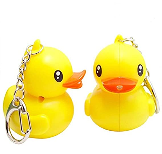 Amazon.com  2 Pieces Rubber LED Cute Duck Electronic Keychain with ... 91631dde219e