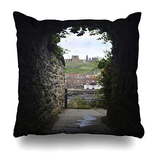 - Ahawoso Throw Pillow Cover Square 16x16 Fishermen Blue Arrival View Whitby Harbour Abbey Towns Khyber Harbor Arch Parks Beach Boats Bone Britain Zippered Cushion Case Home Decor Pillowcase