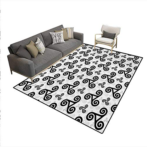 Price comparison product image Carpet, Celtic Triskels Pattern with Three Interlocked Spirals Heraldic Warriors Emblem Art, Area Silky Smooth Rugs, Black Grey, 6'x7'