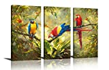 HLJ ART Original Artwork 3 Panel Abstract Macaw Parrot in Tropical Rain Forest Animals Picture Canvas Print Wall Art Painting For Living Room Decor And Modern Home Decorations (Wood Framed)