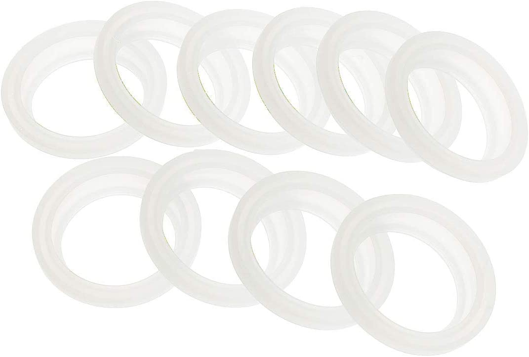 Chyoo 10Pcs Silicone Sealing O-Rings Gasket Reusable Leak Proof Mason Jar Lids Replacement Parts Juicer Blender Replacement Seals White 1.5 inches